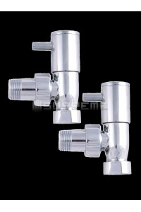 "Pair of Angled 1/2"" Chrome Towel Radiator Valve"