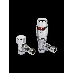 Thermostatic Angled Chrome Towel Radiator Valves