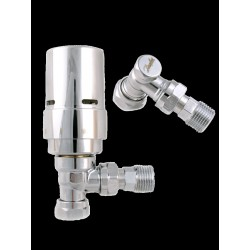 Danfoss Thermostatic Chrome Angled Radiator Valves