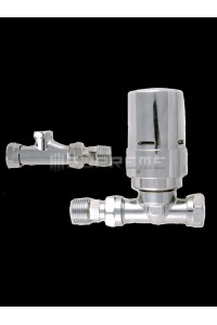 Danfoss Thermostatic Chrome Straight Radiator Valves