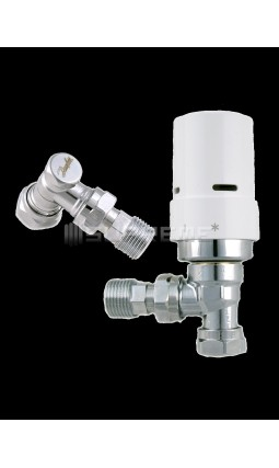 Danfoss Thermostatic White Angled Radiator Valves
