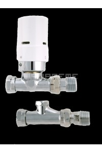Danfoss Thermostatic White Straight Radiator Valves