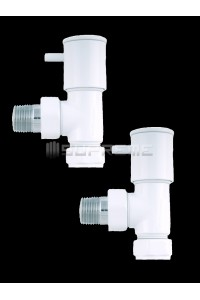 "Pair of Angled 1/2"" WhiteTowel Radiator Valves"