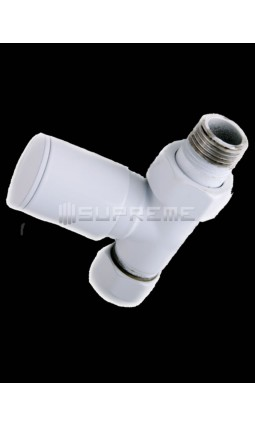 "Straight 1/2"" White Towel Radiator Valve"
