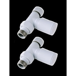 "Pair of Straight 1/2"" WhiteTowel Radiator Valves"