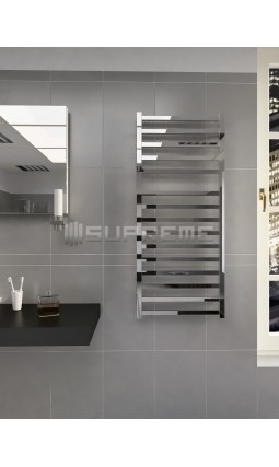 500mm Wide 1165mm High Supreme Chrome Designer Square Tube Towel Radiator