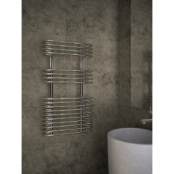 500mm Wide 900mm High Supreme Chrome Designer Circular Tube Towel Radiator