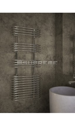 500mm Wide 1200mm High Supreme Chrome Designer Circular Tube Towel Radiator