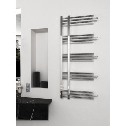 500mm Wide 1200mm High Supreme Chrome Designer Round Pipe Towel Radiator