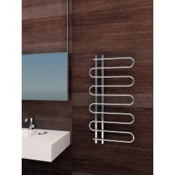 500mm Wide 1000mm High Supreme Chrome Designer Round Pipe Towel Radiator