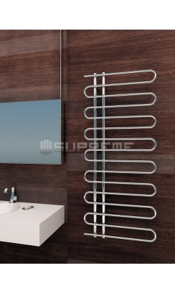 600mm Wide 1400mm High Supreme Chrome Designer Round Pipe Towel Radiator