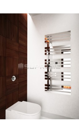 500mm Wide 1200mm High Supreme Chrome Designer Mirror Effect Towel Radiator