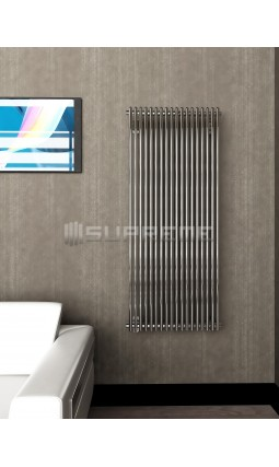 600mm Wide 1400mm High Supreme Chrome Designer Round Pipe Vertical Radiator