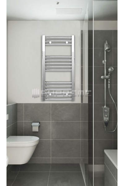 400mm Wide 800mm High Chrome Curved Towel Radiator ...