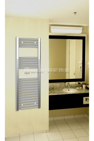Chrome Curved Towel Radiator 400x1200mm Supreme Towel