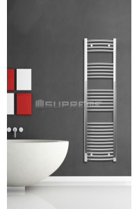 400mm Wide 1500mm High Chrome Curved Towel Radiator