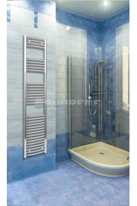 Chrome Curved Towel Radiator 400mm Wide 1760mm High