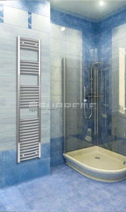 400mm Wide 1760mm High Chrome Curved Towel Radiator