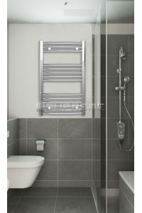 Chrome Curved Towel Radiator 500mm Wide 800mm High