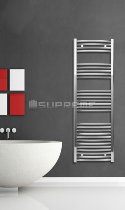 500mm Wide 1500mm High Chrome Curved Towel Radiator
