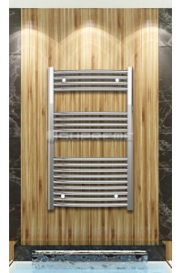 Chrome Curved Towel Radiator 600mm Wide 1000mm High