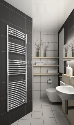 600mm Wide 1760mm High Chrome Curved Towel Radiator