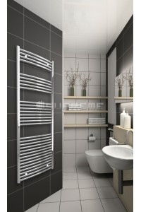 Chrome Curved Towel Radiator 700mm Wide 1650mm High