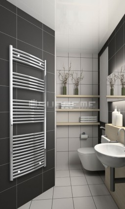 700mm Wide 1650mm High Chrome Curved Towel Radiator