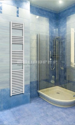 400mm Wide 1760mm High White Curved Towel Radiator