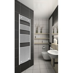 600mm Wide 1760mm High White Curved Towel Radiator