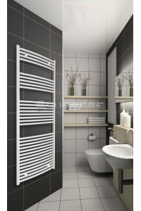 700mm Wide 1650mm High White Curved Towel Radiator