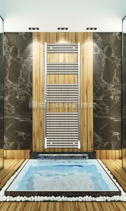 600mm Wide 1760mm High Chrome Flat Towel Radiator