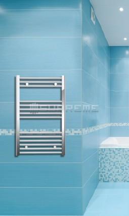 Electric Towel Radiator 500mm Wide 800mm High Chrome Flat