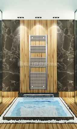 Electric Towel Radiator 500mm Wide 1500mm High Chrome Flat
