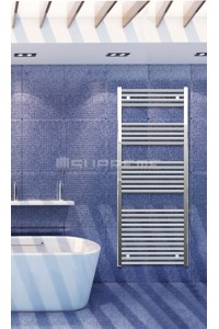 Electric Towel Radiator 600mm Wide 1500mm High Chrome Flat