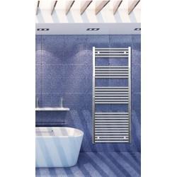Electric Towel Radiator 600mm Wide 1500mm High Chrome Flat