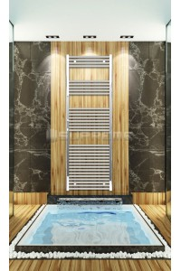 Electric Towel Radiator 600mm Wide 1760mm High Chrome Flat