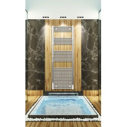 Electric Towel Radiator 600mm Wide 1760mm High Chrome Flat