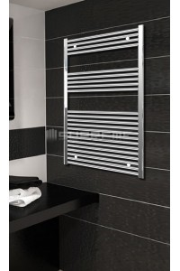 Electric Towel Radiator 700mm Wide 1200mm High Chrome Flat