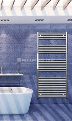 Electric Towel Radiator 700mm Wide 1500mm High Chrome Flat