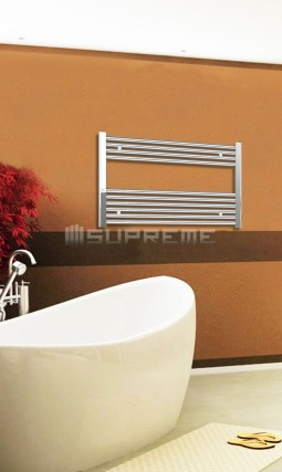 Electric Towel Radiator 800mm Wide 600mm High Chrome Flat