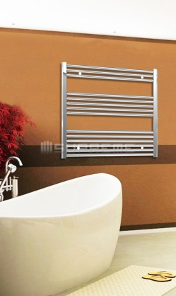 Electric Towel Radiator 800mm Wide 800mm High Chrome Flat
