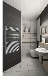 Electric Towel Radiator 800mm Wide 1200mm High Chrome Flat