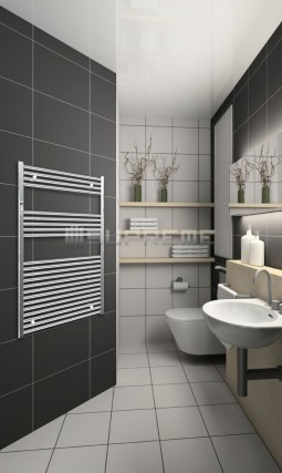 Electric Towel Radiator 800mm Wide 1200mm High Chrome Flat