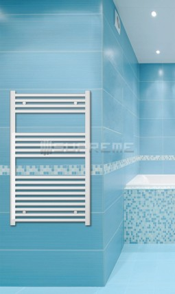 Electric Towel Radiator 600mm Wide 1000mm High White Flat
