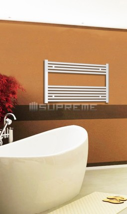 Electric Towel Radiator 800mm Wide 600mm High White Flat