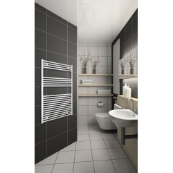 Electric Towel Radiator 800mm Wide 1200mm High White Flat