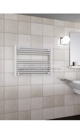 800mm Wide 600mm High Middle Connection White Towel Radiator