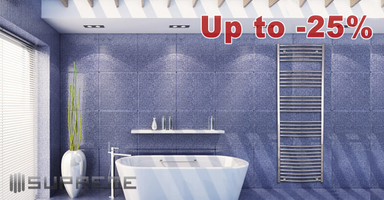 Get a warm feeling in your bathroom. Supreme Dual Fuel Chrome Curved Towel Radiators up to 25% off from RRP!